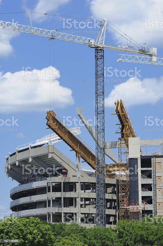 Constructio of football stadium stock photo