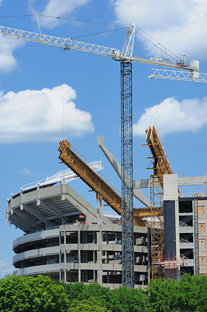 Constructio of football stadium stock photo
