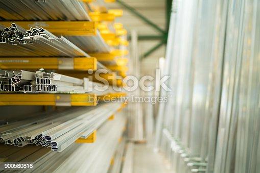 istock Construction - aluminum in warehouse 900580818