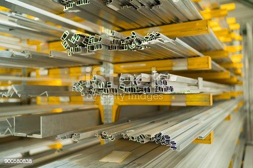 istock Construction - aluminum profiles in storage room 900580838