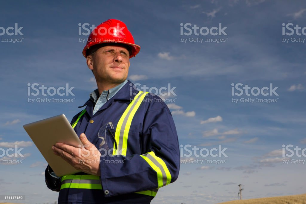 Construction and Computer stock photo