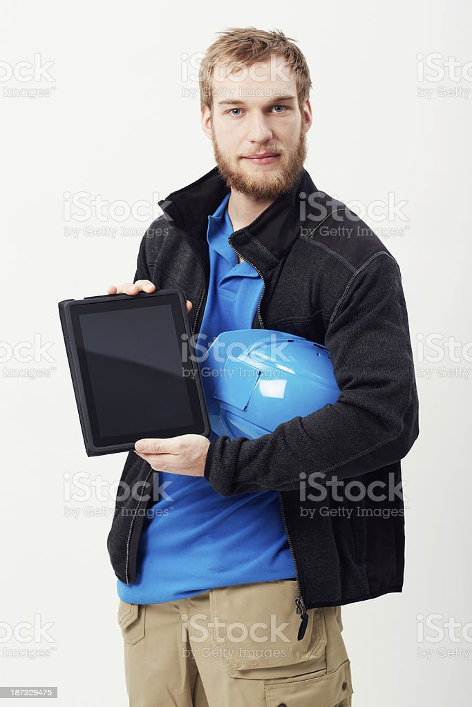 Construction and technology stock photo