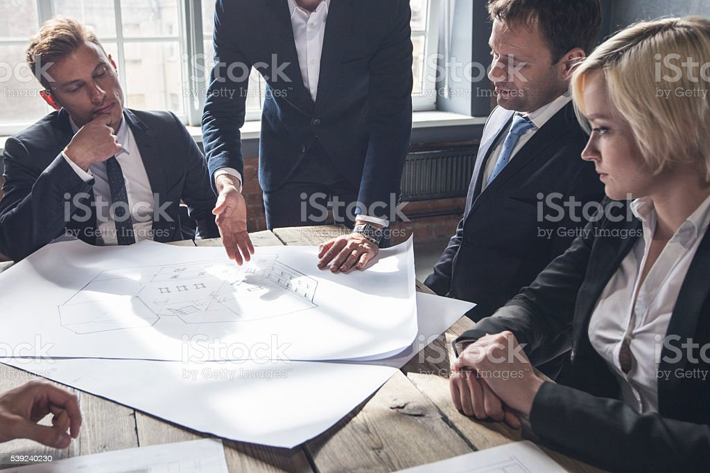 Construction architects in office royalty-free stock photo