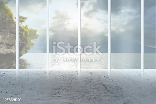 istock construction, architecture and building concept - airport terminal empty room over blue sky and clouds background 1077225202