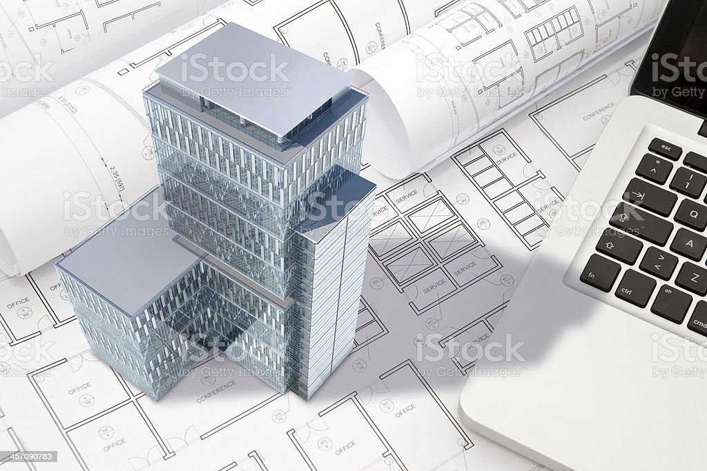 Construction architecture blueprint with office building exterior construction architecture blueprint with office building exterior and 3d model royalty free stock photo malvernweather Choice Image
