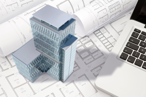 istock Construction architecture blueprint with office building exterior and 3D model 457090783