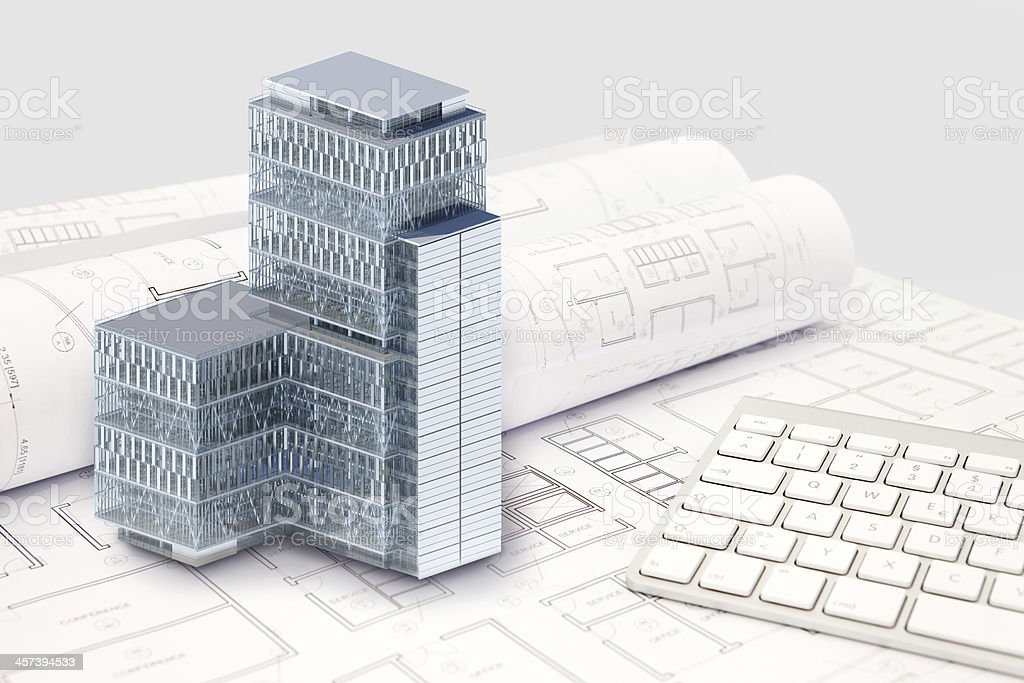 Construction architecture blueprint with office building exterior construction architecture blueprint with office building exterior and 3d model royalty free stock photo malvernweather Image collections