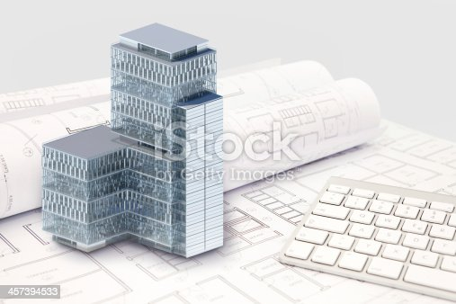istock Construction architecture blueprint with office building exterior and 3D model 457394533