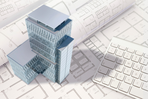 istock Construction architecture blueprint with office building exterior and 3D model 457394543