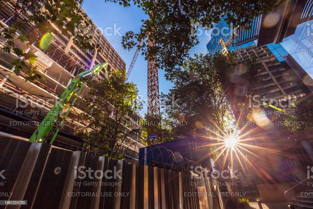 Construction at 19 Ameshoff in Braamfontein, Johannesburg stock photo