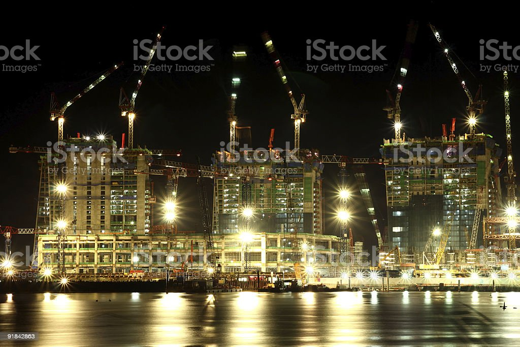 Construction at night in Singapore royalty-free stock photo