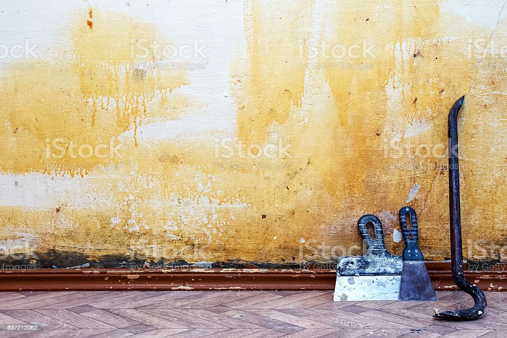 Construction background. Old wall spaces stock photo