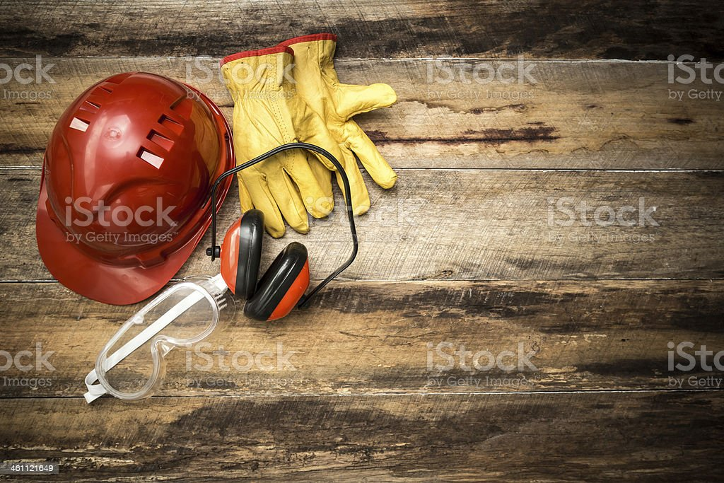 Construction background with protective workwear stock photo