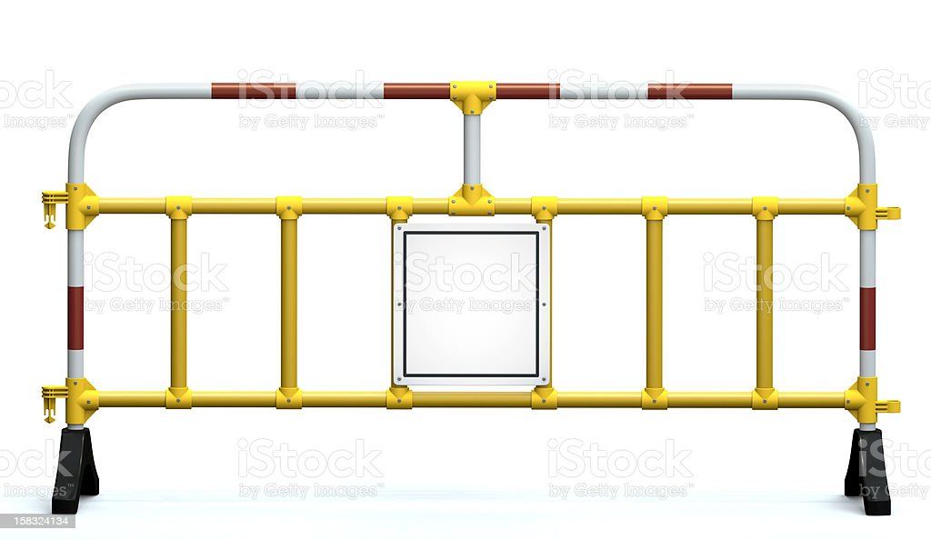Construction barricade with signal board stock photo