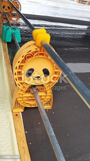 Construction barrier in a shape of a panda in Japan