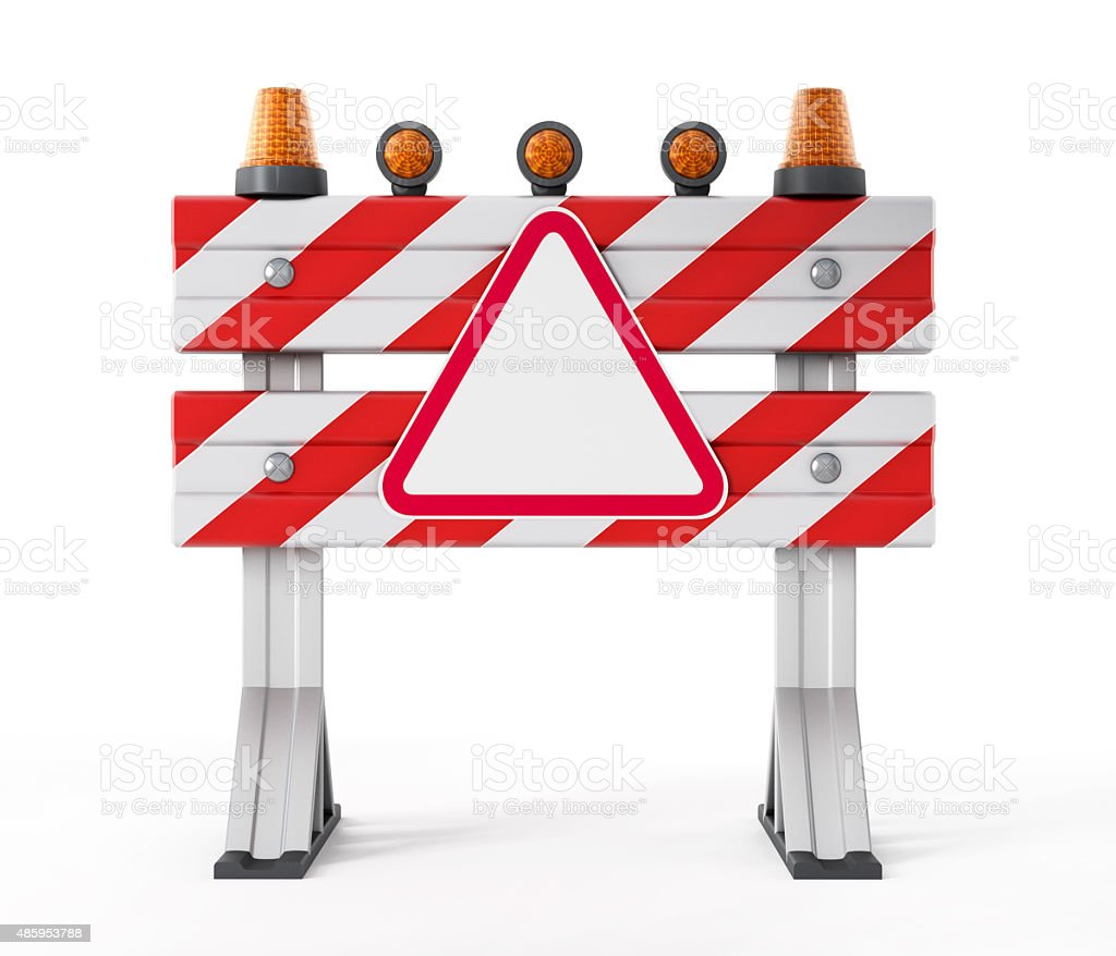 Construction barrier with empty road sign stock photo