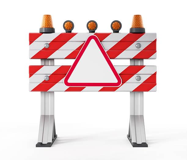 Barriera di costruzione con vuoto Cartello stradale - foto stock