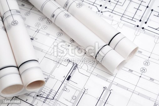 istock Construction Blueprint-Architecture Industry Paperwork 154946898