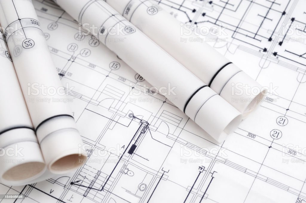 Construction Blueprint-Architecture Industry Paperwork stock photo