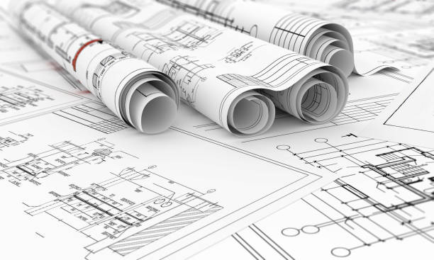 construction blueprints in roll isolated 3d illustration construction blueprints in roll isolated 3d illustration blueprint stock pictures, royalty-free photos & images