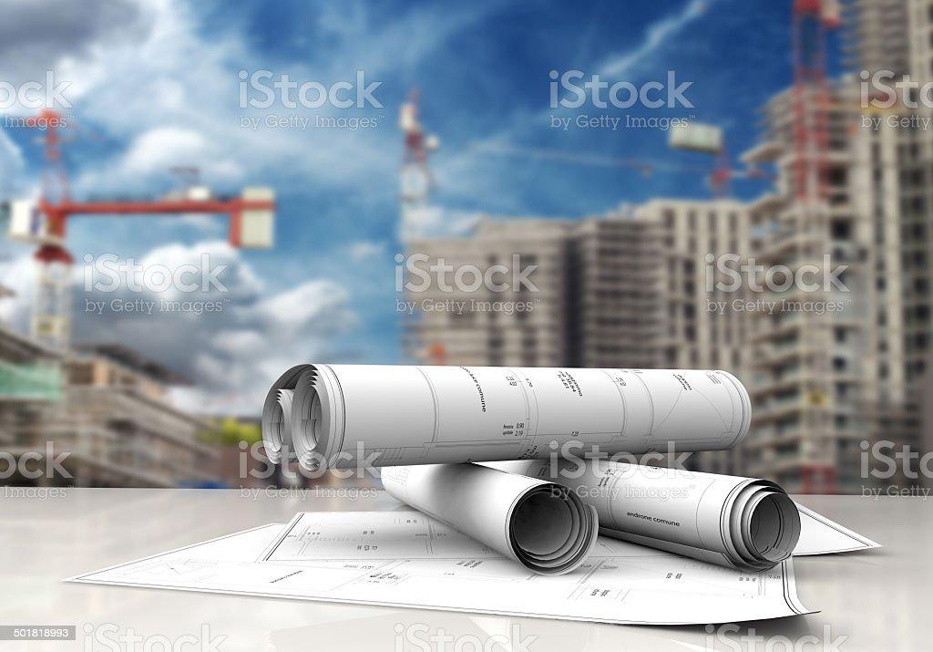 construction blueprints stock photo