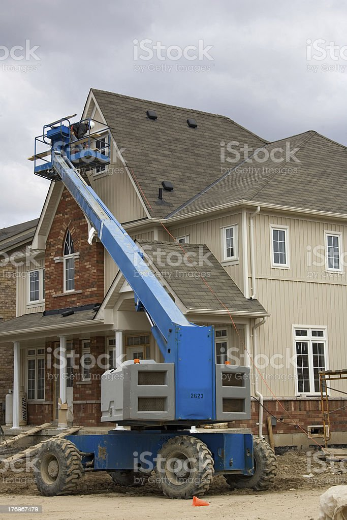 construction boom lift stock photo