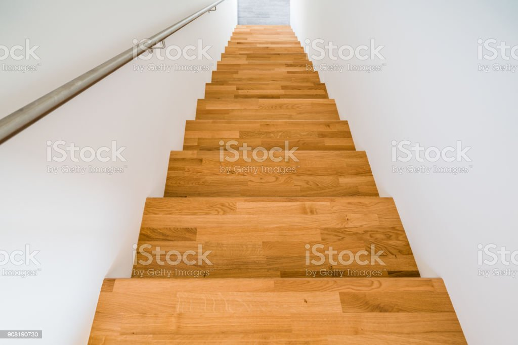 Construction Brand New Wooden Steps Inside House Royalty Free Stock Photo