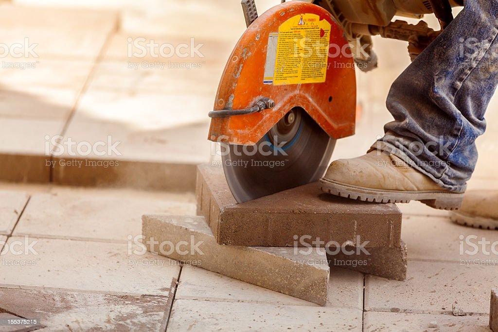 Construction: Brick Paver installation series royalty-free stock photo