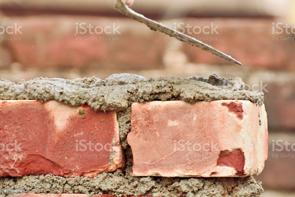 Construction brick wall stock photo