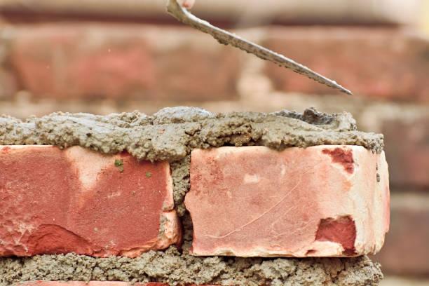 Construction brick wall stock photo