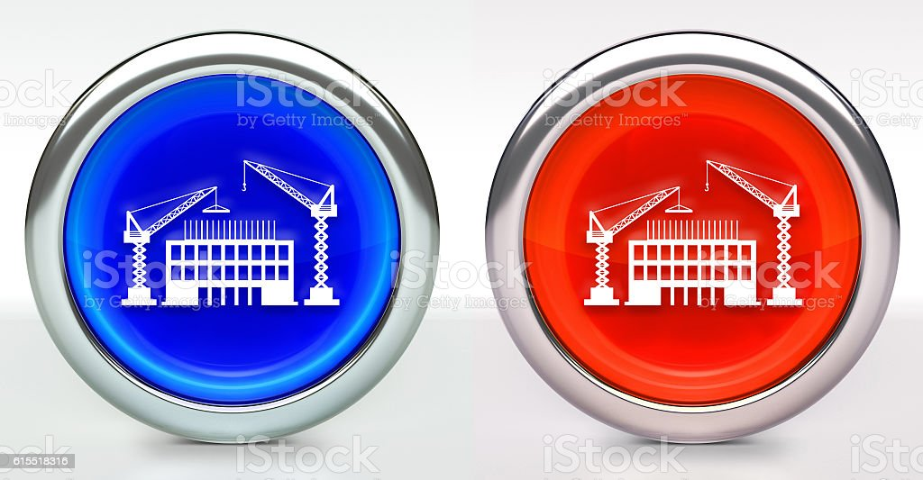 Construction Building Icon on Button with Metallic Rim stock photo