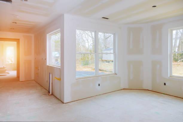 Construção construção home nova indústria, construção civil, paredes de gesso gesso de construção - foto de acervo