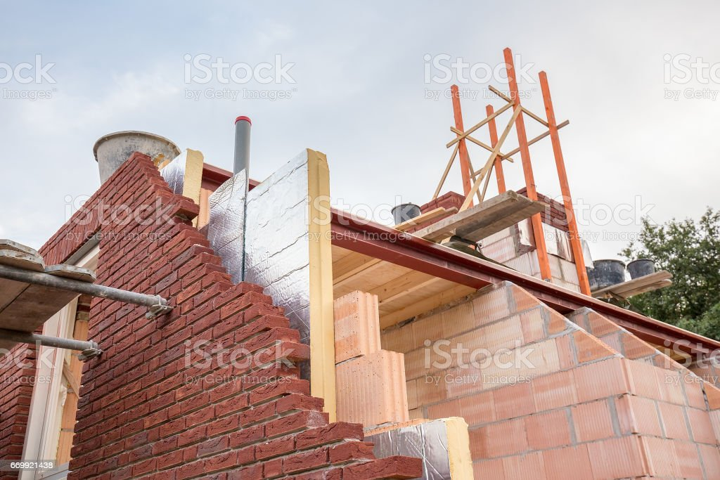 Construction building of new house with insulation stock photo