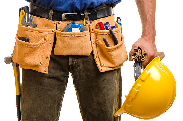 construction carpenter contractor isolated isolated on white background background - tool belt stock photos and pictures