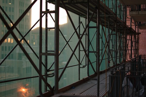 Construction Catwalk For Building Renovation Stock Photo