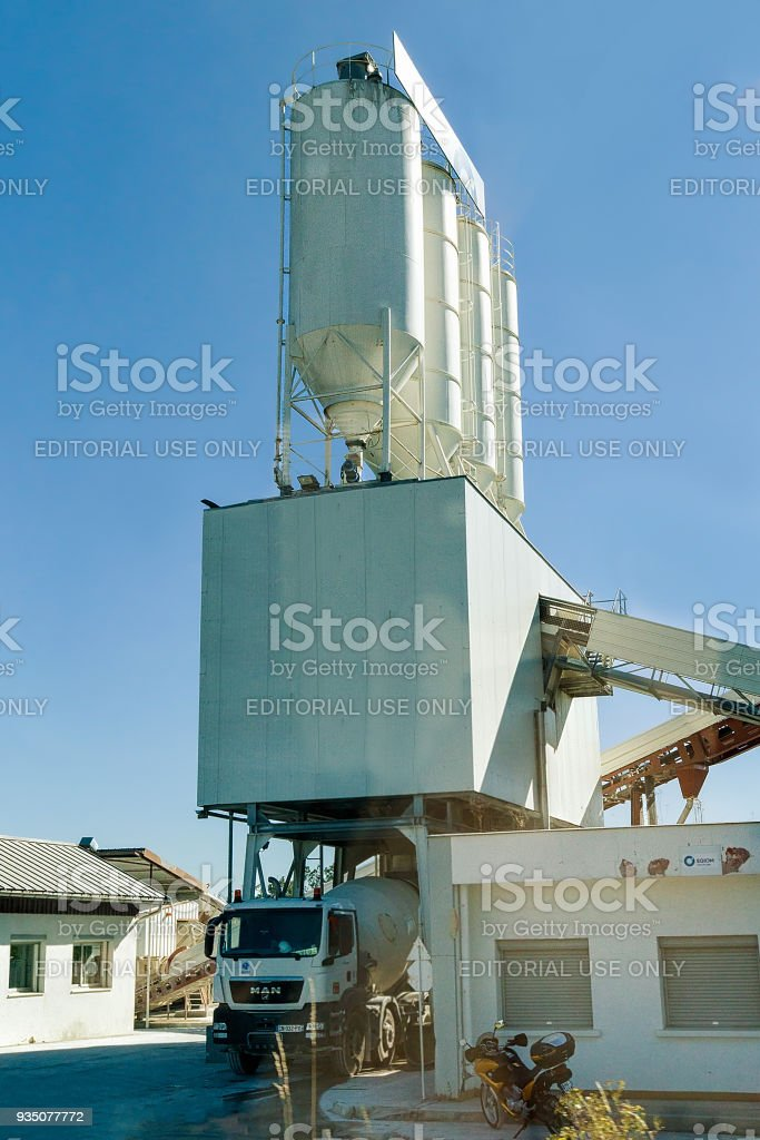 Construction Cistern and track on development site in Switzerland stock photo