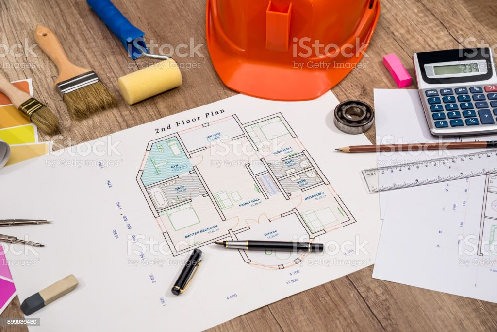 Construction concept architectural project blueprints helmet construction concept architectural project blueprints helmet measuring tape royalty free stock malvernweather Image collections