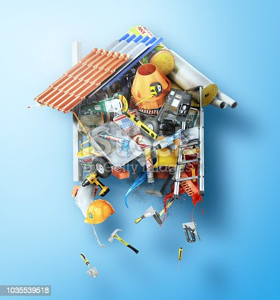 istock Construction concept. Building materials laid out form of house. 3d illustration 1035539518