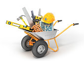 istock Construction concept. Construction tools in the wheelbarrow isolated on a white. 3d illustration 826837970