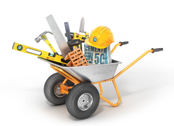construction concept. construction tools in the wheelbarrow isolated on a white. 3d illustration - material stock photos and pictures