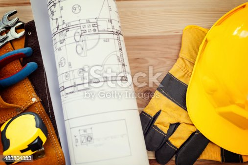 istock Construction concept with working tools 483804383