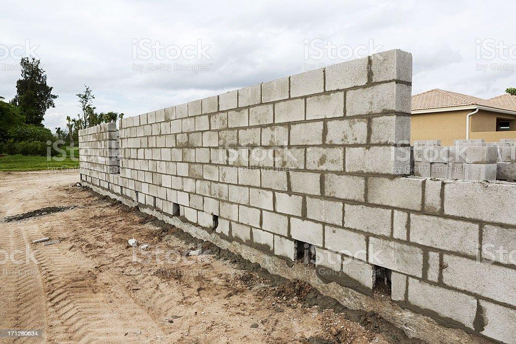 Construction: Concrete block Wall royalty-free stock photo