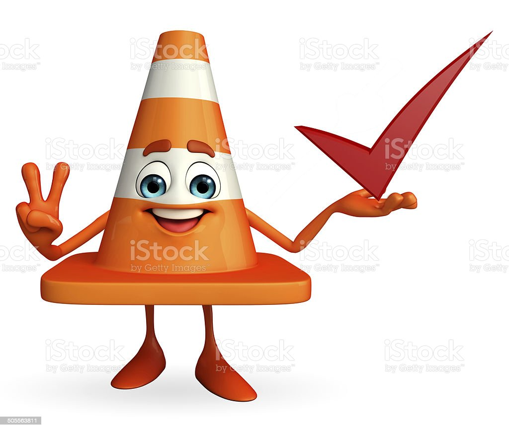 Construction Cone Character with right sign royalty-free stock photo