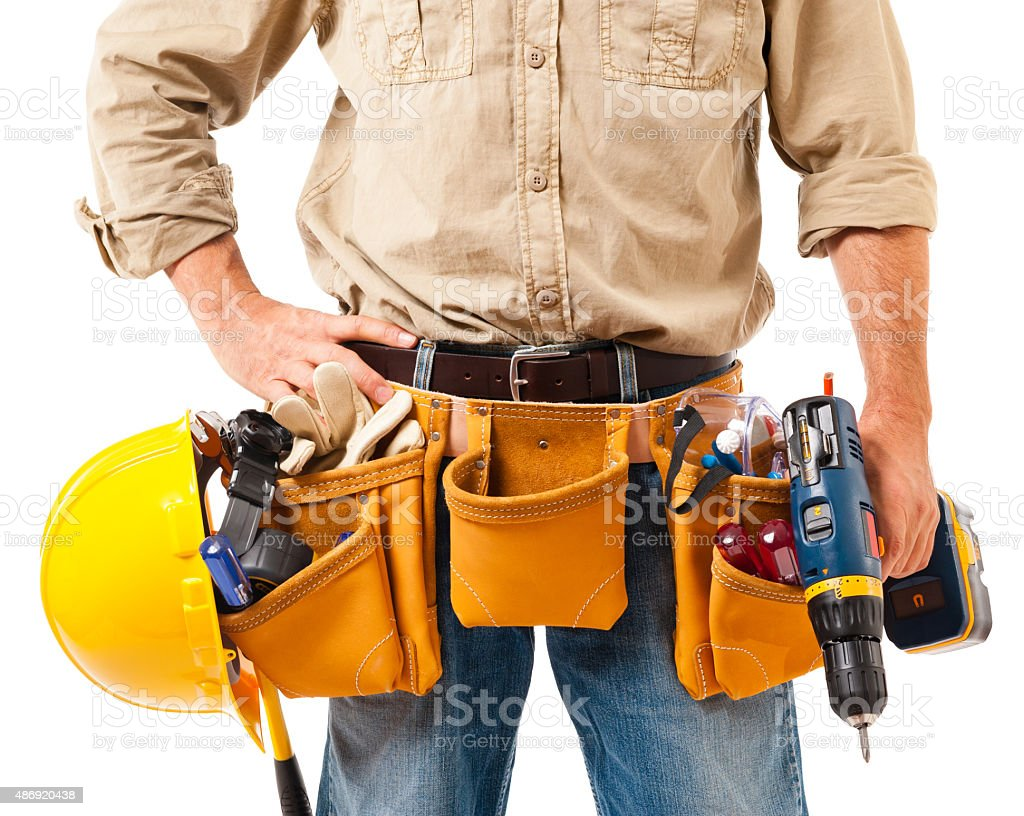 Construction Contractor Carpenter Detail on White stock photo