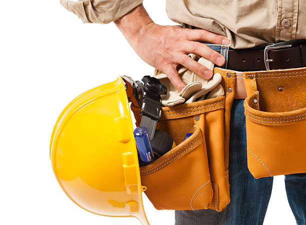 construction contractor carpenter detail on white - tool belt stock photos and pictures