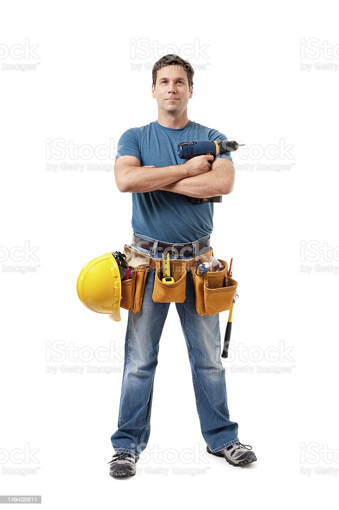 Construction Contractor Carpenter Isolated on White Background stock photo