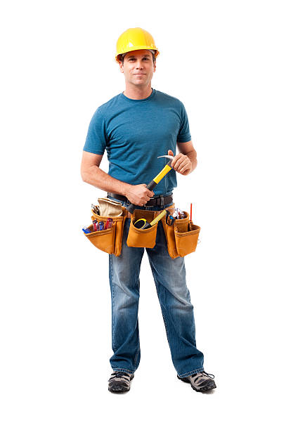 construction contractor carpenter isolated on white background - tool belt stock photos and pictures