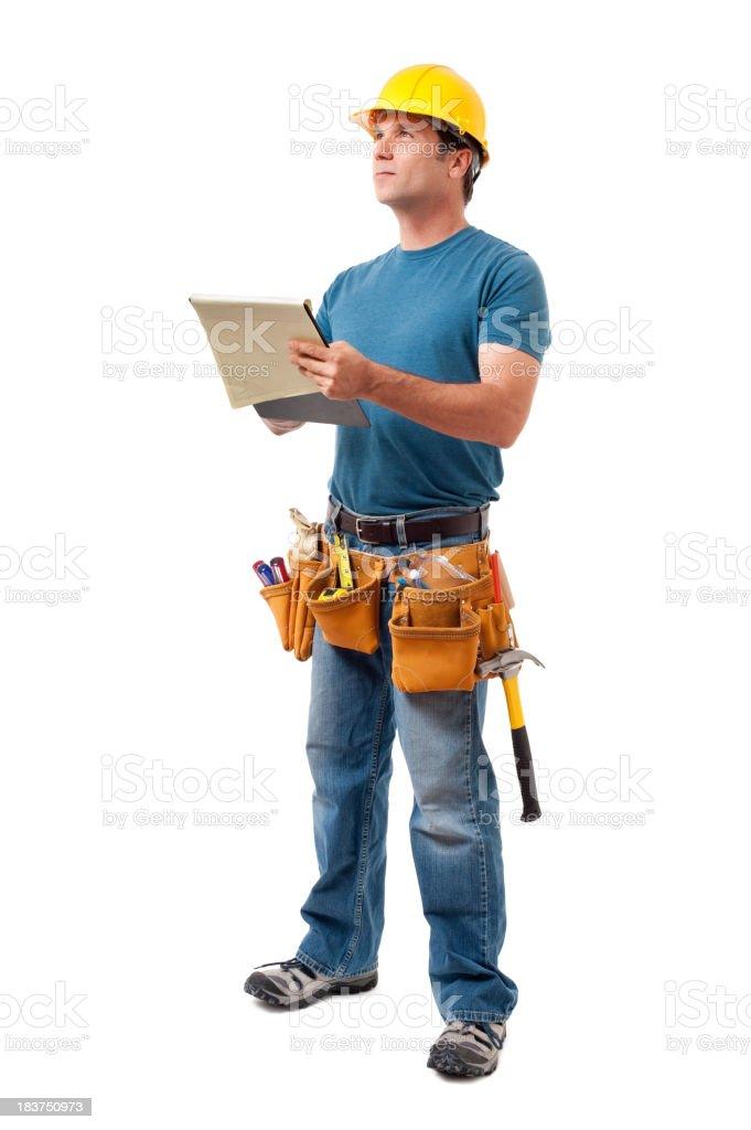 Konstruktion Auftragnehmer Carpenter, isoliert auf weißem Hintergrund – Foto