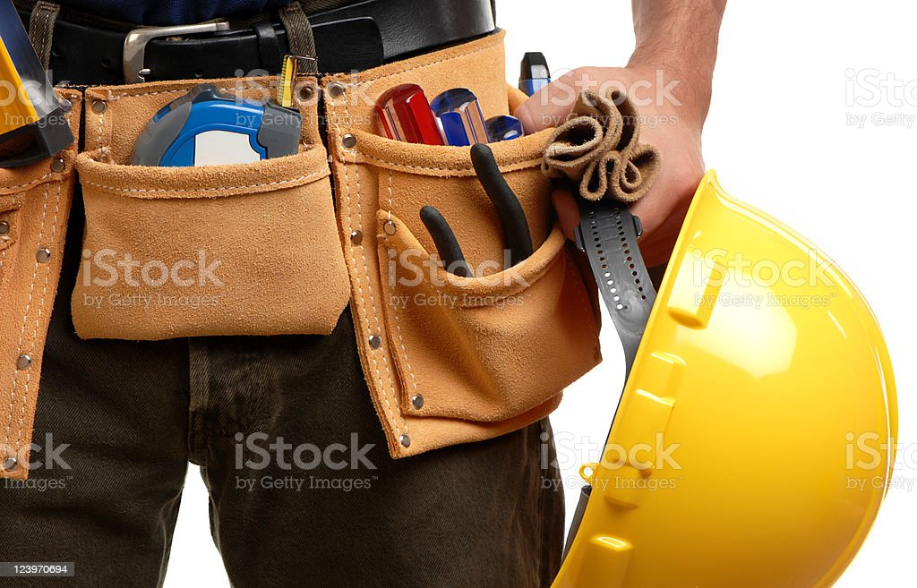 Construction Contractor Carpenter Tool belt hardhat Isolated on White Background stock photo