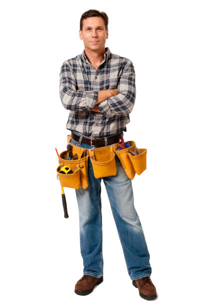Construction Contractor Carpenter with Arms Crossed Isolated on White Background Construction Contractor Carpenter with Arms Crossed Isolated on White Background plaid shirt stock pictures, royalty-free photos & images